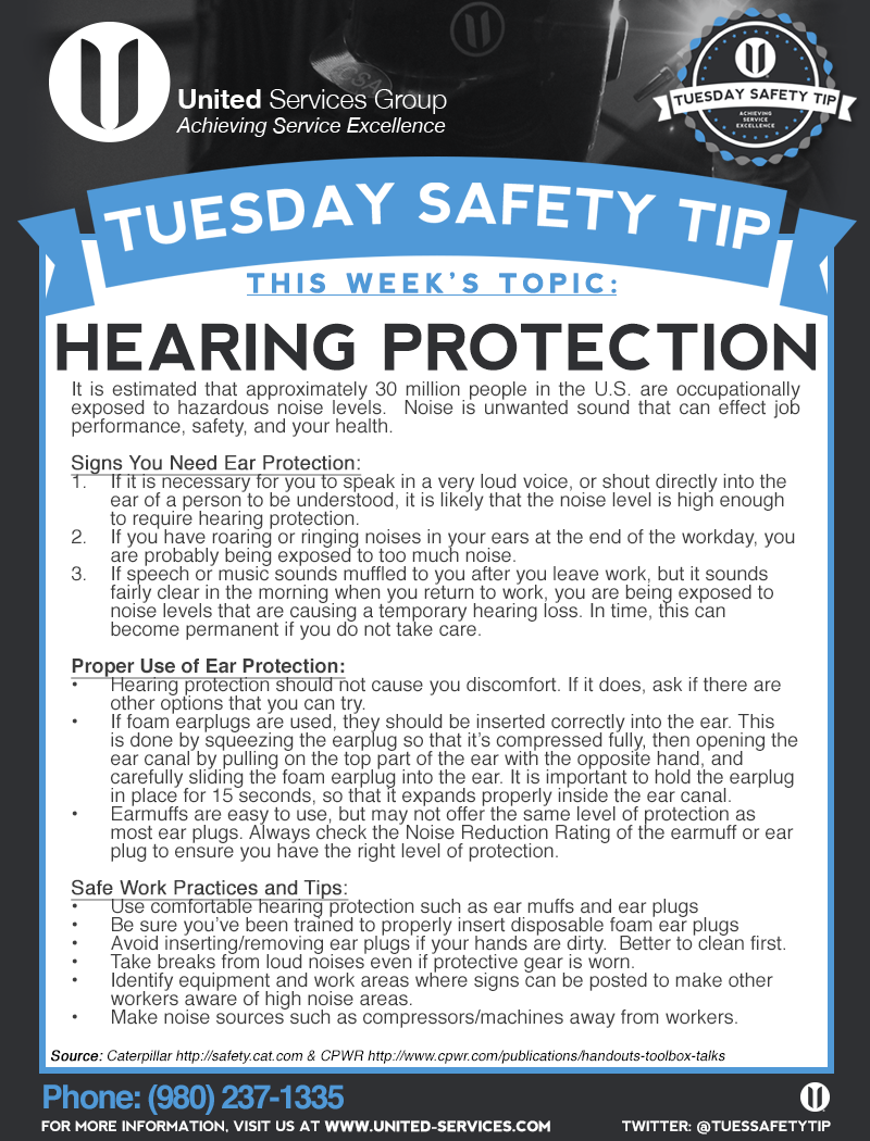This week's Tuesday Safety Tip is about Hearing Protection