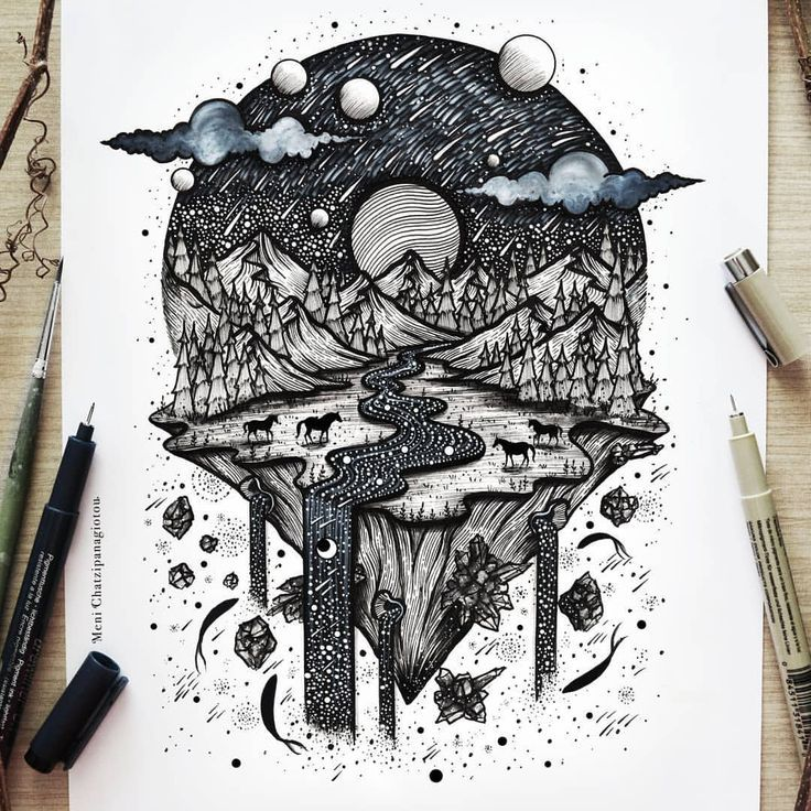 e89d67e8b Floating between dreams and space 🌌 . . Done with pens, ink and acrylic  paint on Fabriano paper. Prints available in my shop! menisart.etsy.com 🌜