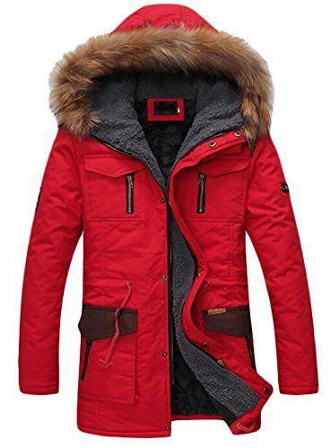 Pandapang Mens Trench Coat Outer Wear Winter Fleece Faux Fur Hooded Parka Jacket