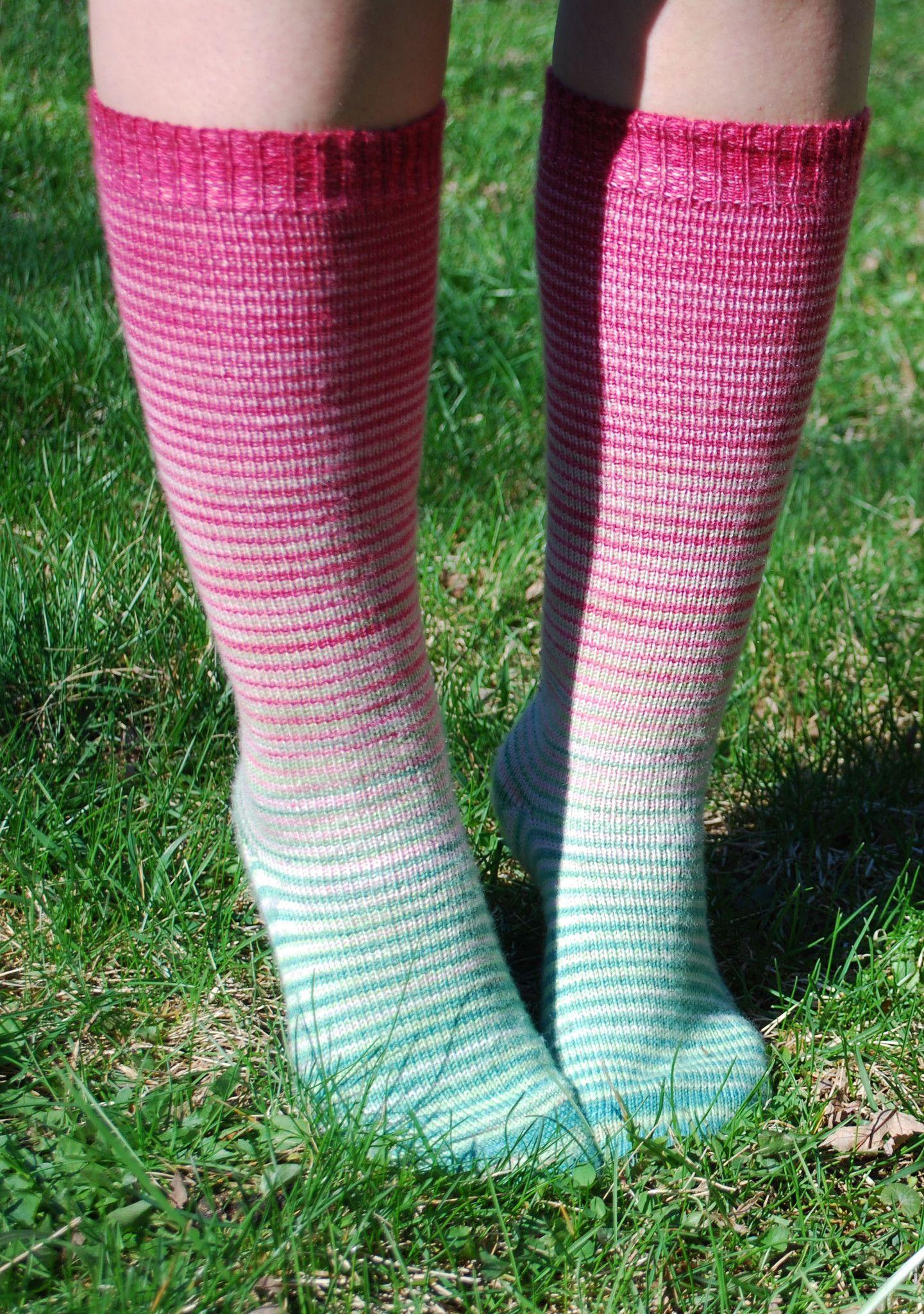 Watermelon Striped Socks Set (Large), Corriedale, ready to ship