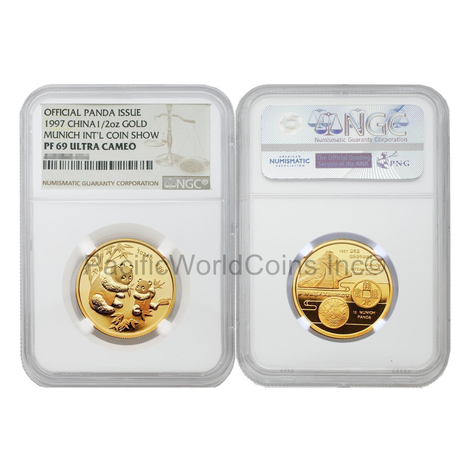China  Panda Munich International Coin Show   Oz Gold Ngc Pf Ultra