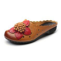 Bloc De Couleur Florale Socofy Évider Sandales Pour Femmes LGEksVZh