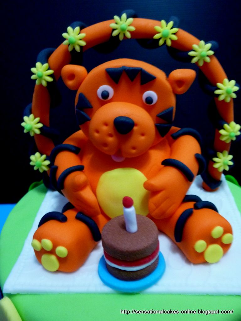 Year Birthday Cake For Xavier 2 Tiered Tiger Singapore Cakes for
