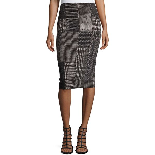 Fuzzi Check-Print Pencil Skirt (€425) ❤ liked on Polyvore featuring skirts, black, pencil skirt, knee length pencil skirt, pull on pencil skirt, checkerboard skirt and checkered skirt