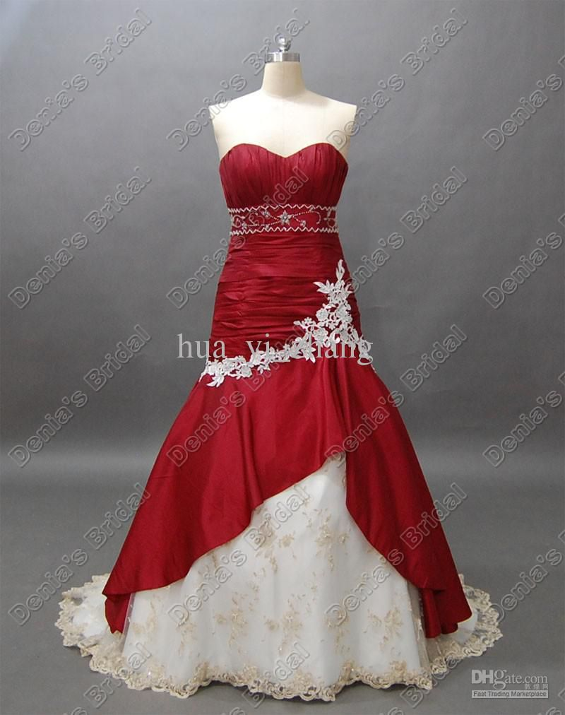 Wedding Dresses Red And White Red Wedding Dresses Sweetheart Wedding Dress Wedding Dress Long Sleeve [ 1012 x 800 Pixel ]