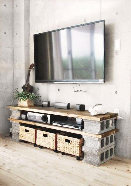 Charming DIY Cinder Block TV Cabinet On A Budget. Managed To Put It Together For  Under