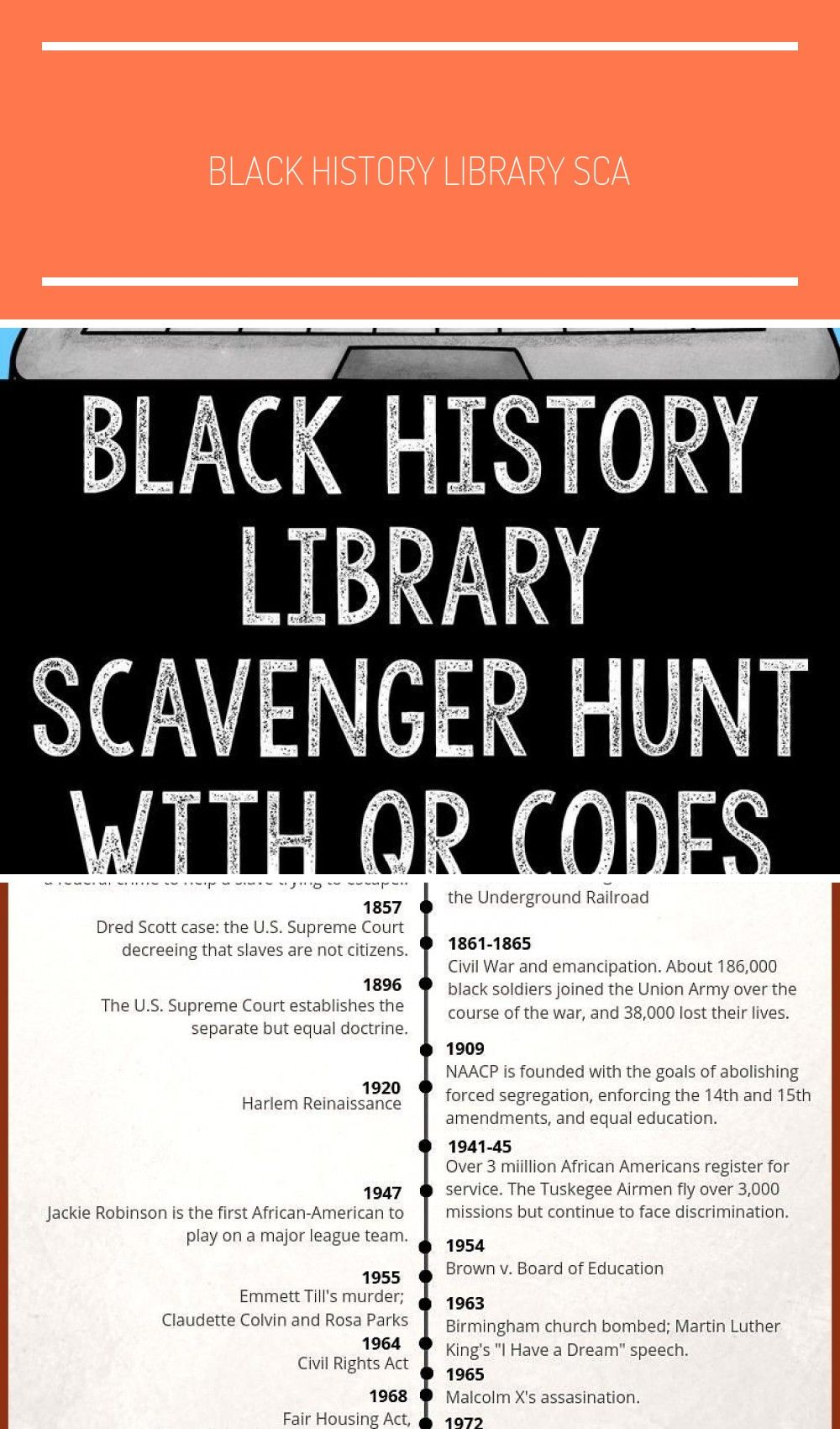 Black History Library Scavenger Hunt with QR Codes black history facts for kids Black History Library Scavenger Hunt with QR Codes