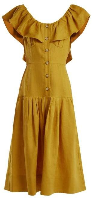 1f70deeafbe Sea Goldie Dropped Waist Ruffled Neck Linen Dress - Womens - Yellow ...