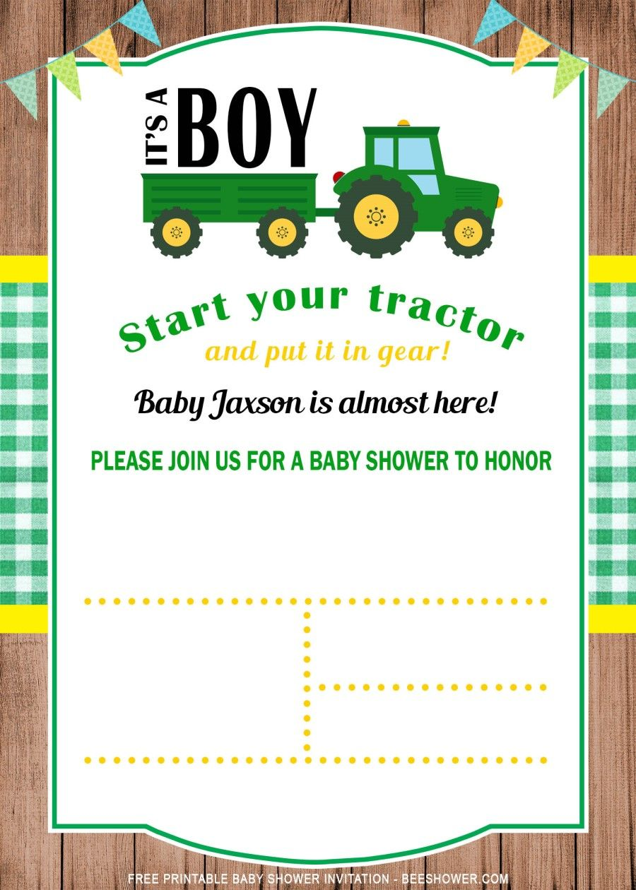 Free Printable Tractor Baby Shower Invitation Templates Tractor Baby Shower Invitations Tractor Baby Shower Free Printable Baby Shower Invitations