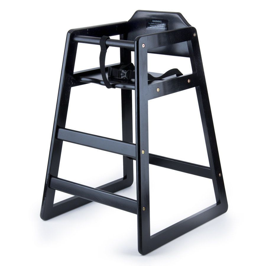 Restaurant Stackable Style Wooden High Chair - Espresso / Black