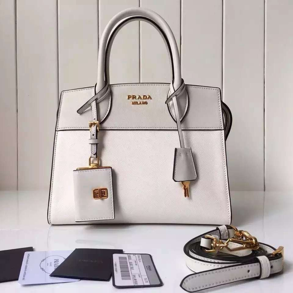 ff4dd13c96 Prada Small Esplanade Saffiano and Calf Leather Bag White Off-white 2016