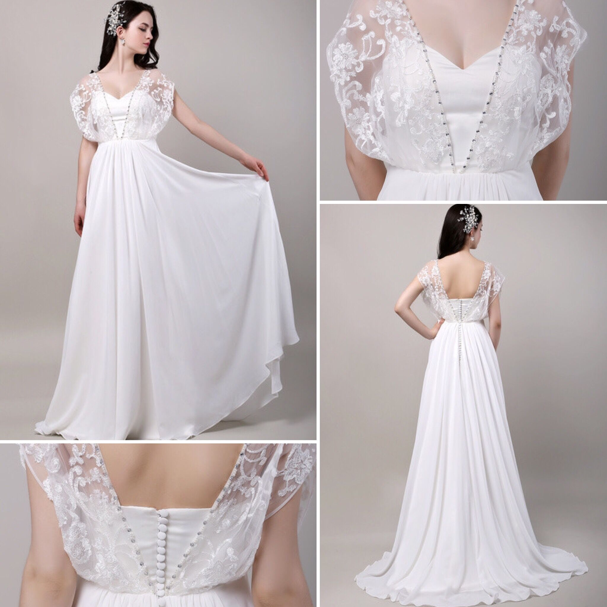 Boho Wedding Dress Sweatheart Butterfly Lace Sleeves Chiffon