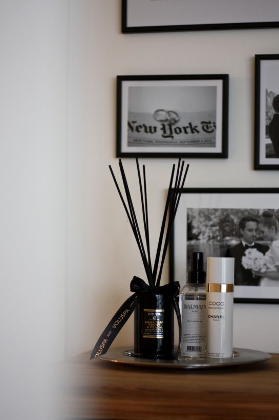 homevialaura   Voluspa Makassar Ebony & Peach Diffuser   Chanel Coco Madamoiselle Fresh Moisture Mist   room scent   gallery wall