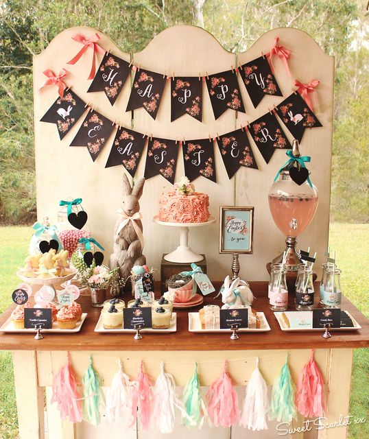Gorgeous chalkboard Easter Party!  See more party ideas at CatchMyParty.com!