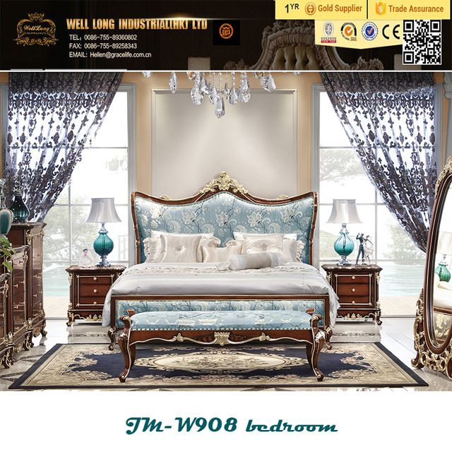 Wholesale Baroque style antique wooden bedroom furniture set king ...