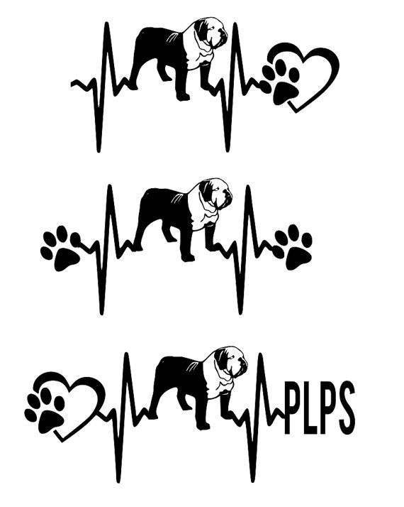 Request PLPS SVG Cut File American Bulldog Heartbeat paw with heart ...
