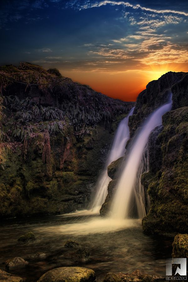 Sunset At Venford Falls Devon England Uk By Aperozed