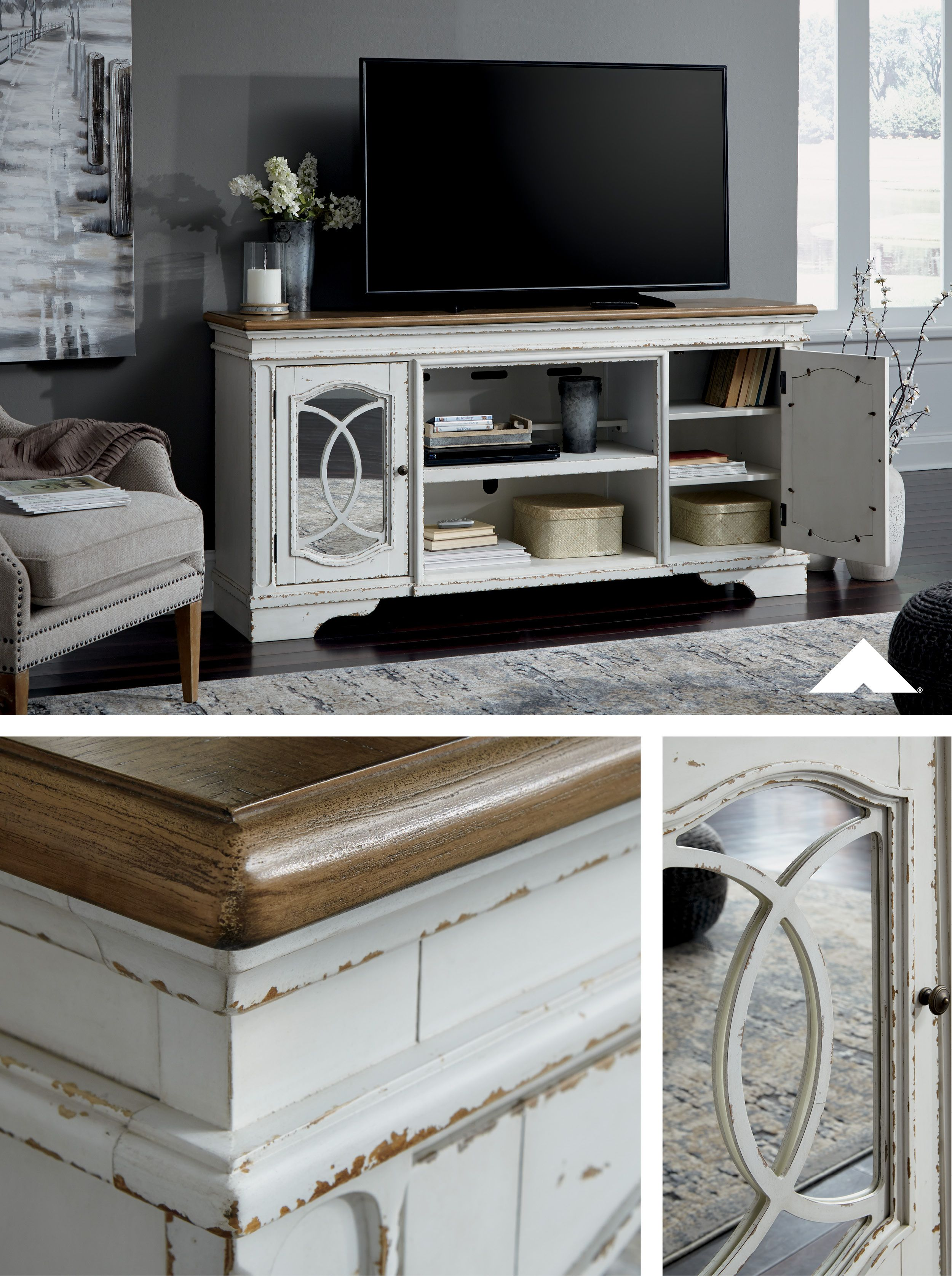 Realyn Chipped White Xl Tv Stand W Fireplace Option From Ashley