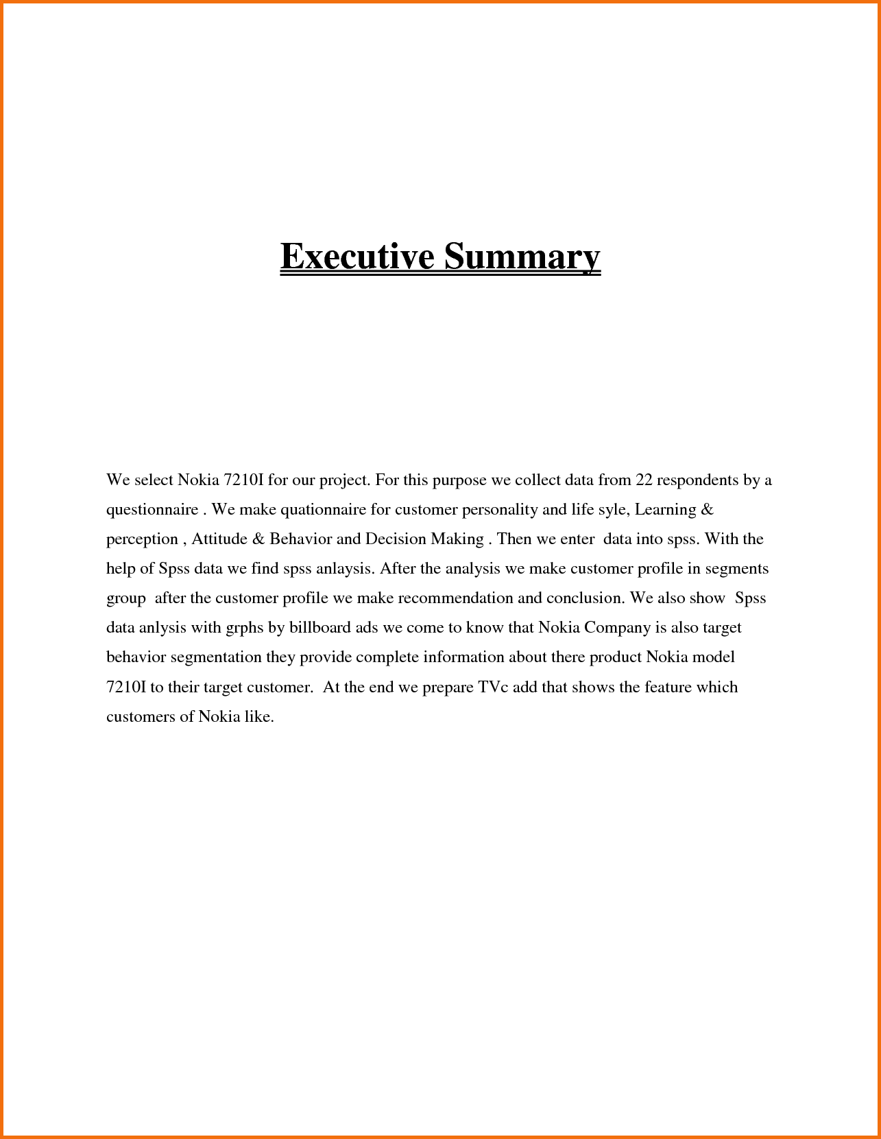 Executive Summary Sample  Executive Summary Templates