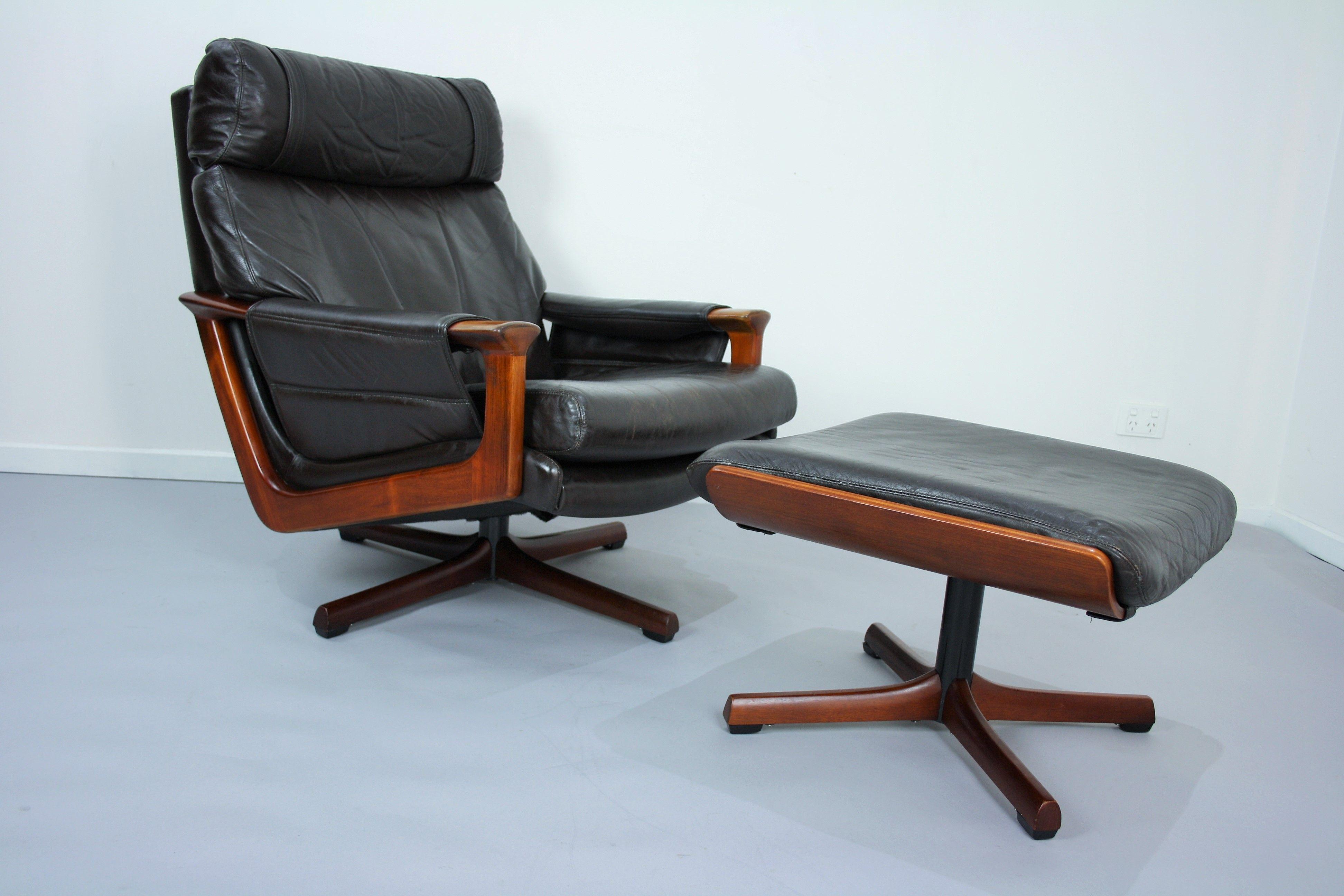 Mid Century Tessa T21 Leather Swivel Chair Armchair Footstool