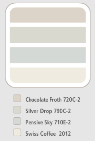 Behr Colour Scheme Chocolate Froth Silver Drop Pensive Sky Swiss Coffee