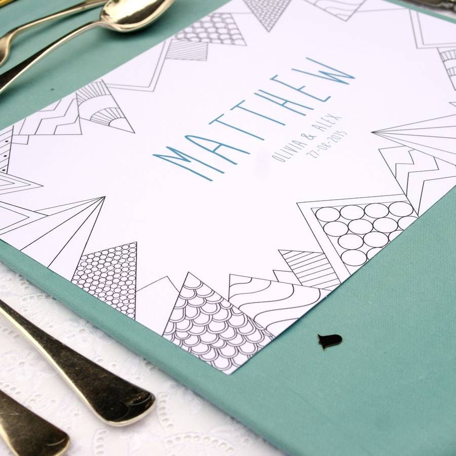 Personalised Wedding Colour Me In Table Place Mats | Wedding favor ...
