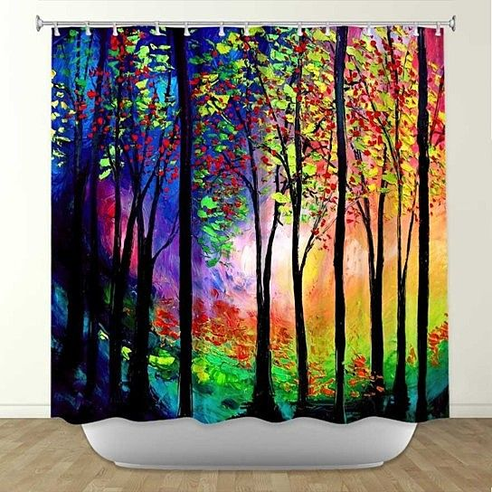 Add some fun and flair to your bathroom with a stylish and unique shower curtain from DiaNoche Designs. Rest assured all of your friends won't have the same one-for once! More than 70 artists from around the world create artwork for DiaNoche Designs products. There are no two alike, and all designs were originally created by hand. Made from 100% woven polyester, has button hole openings for shower rings, and is machine washable in cold water. (shower rings not included). Dye ...
