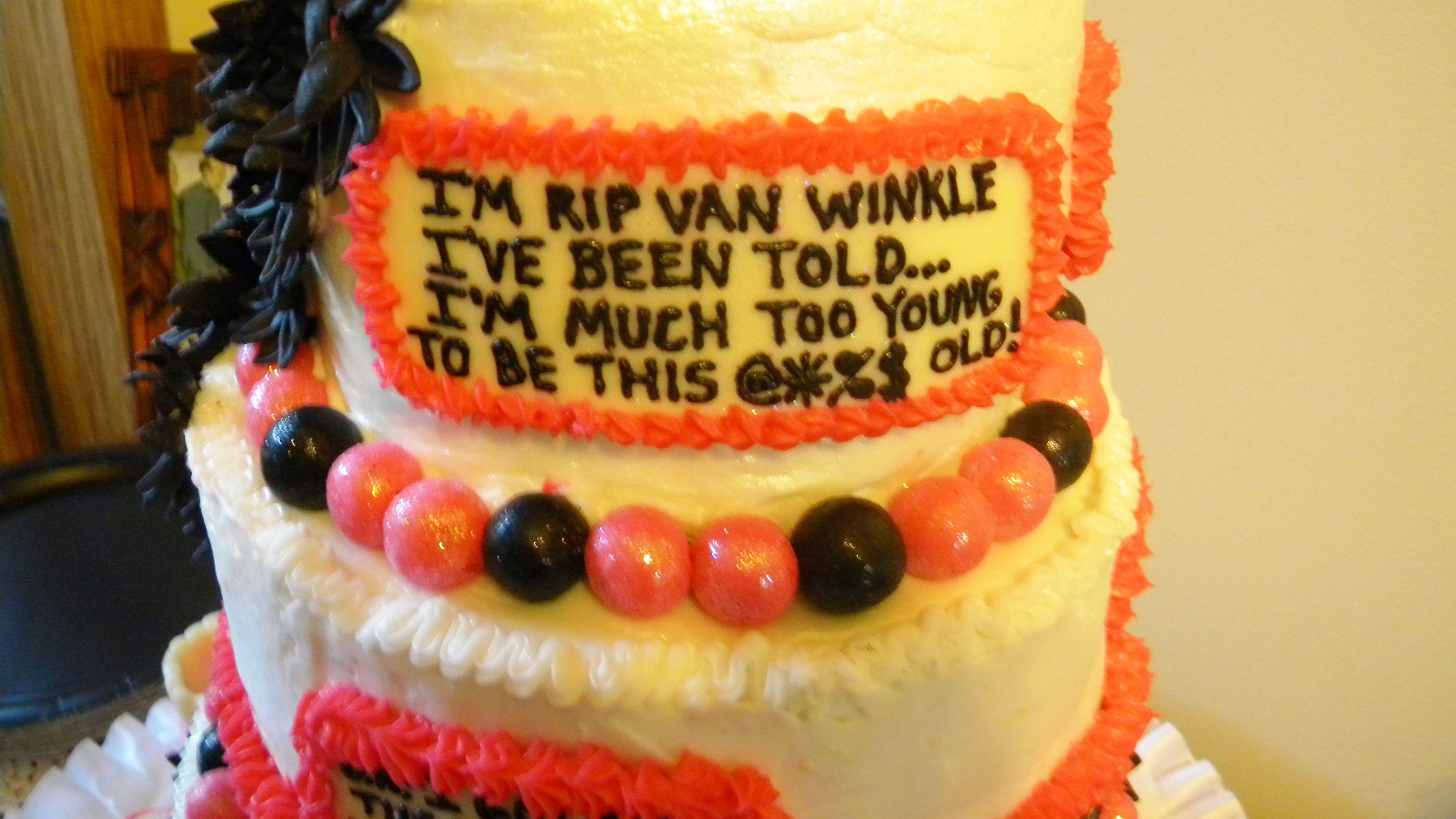 Swell 50Th Birthday Cake Funny Sayings Pink Black White Funny Personalised Birthday Cards Veneteletsinfo