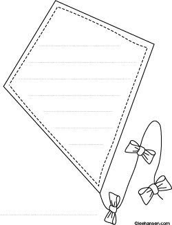 High flying Kite Shape Paper Coloring Sheet with Lines for Writing