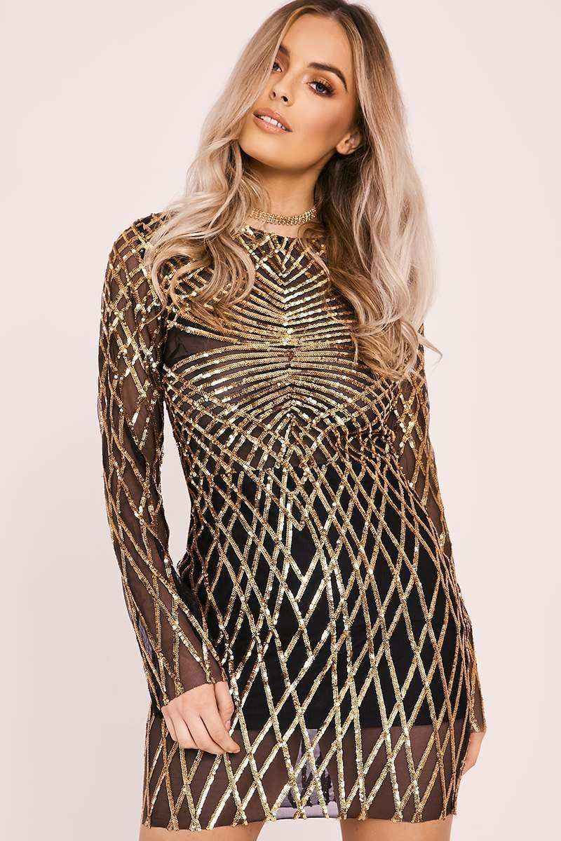 Esma gold long sleeve sequin mini dress sequin mini dress mini