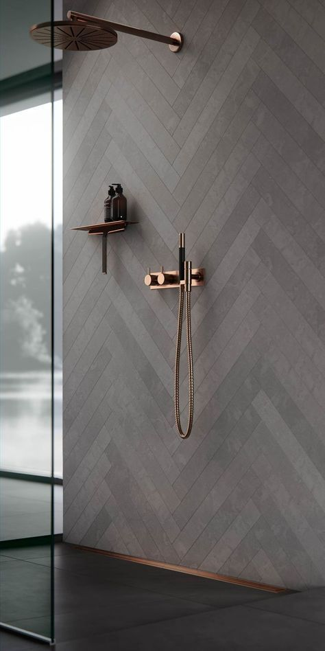Photo of Copper bathroom fittings. Bathroom decor, ideas and inspiration. Shower interior…