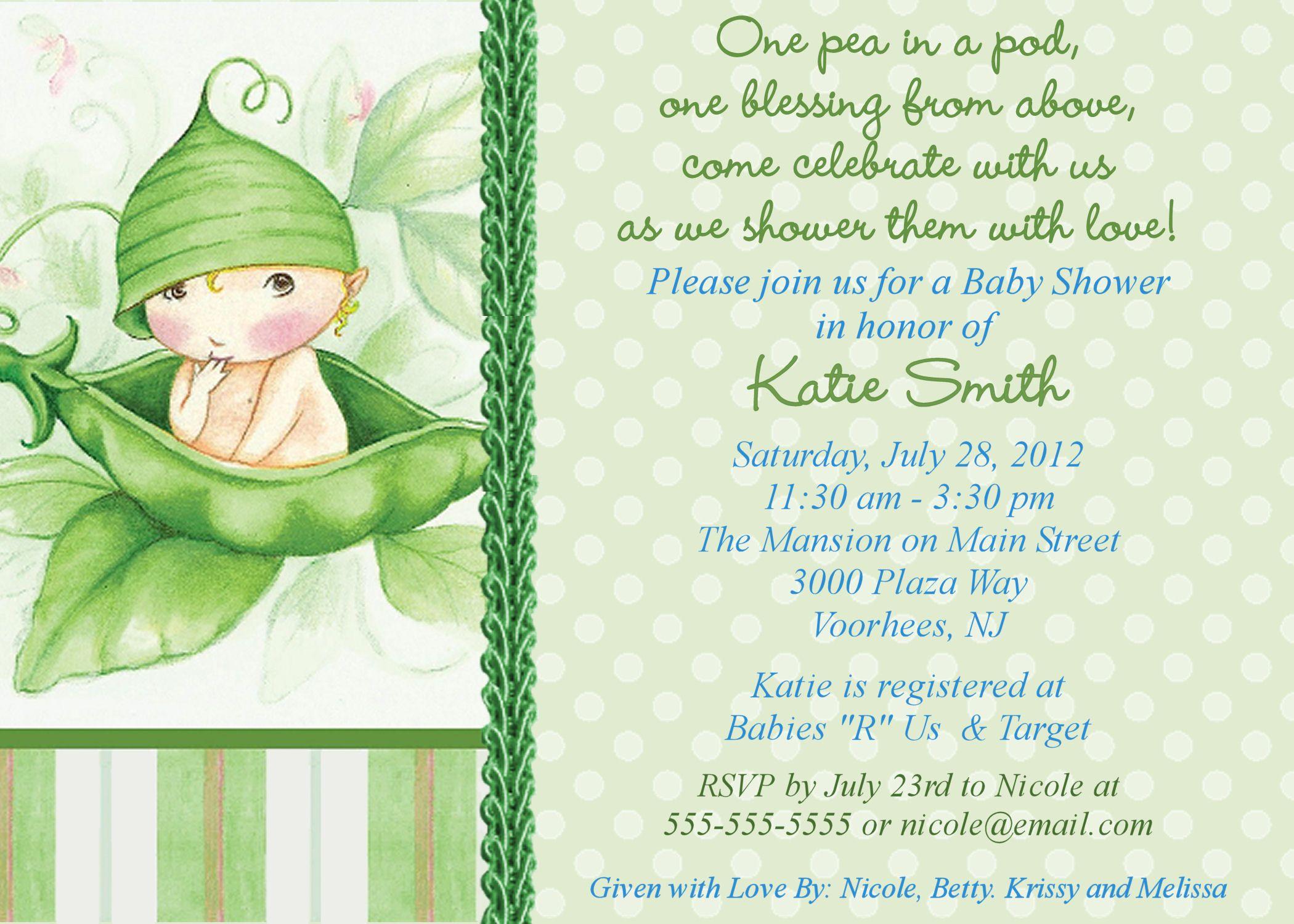 Baby Shower Invitation Sample Free