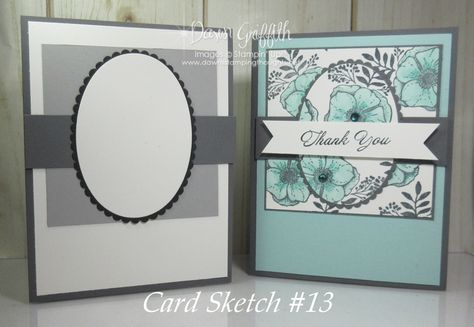 Amazing You Card Sketch #13 ~Thank you card video - Dawn's Stamping Thoughts #cardsketches