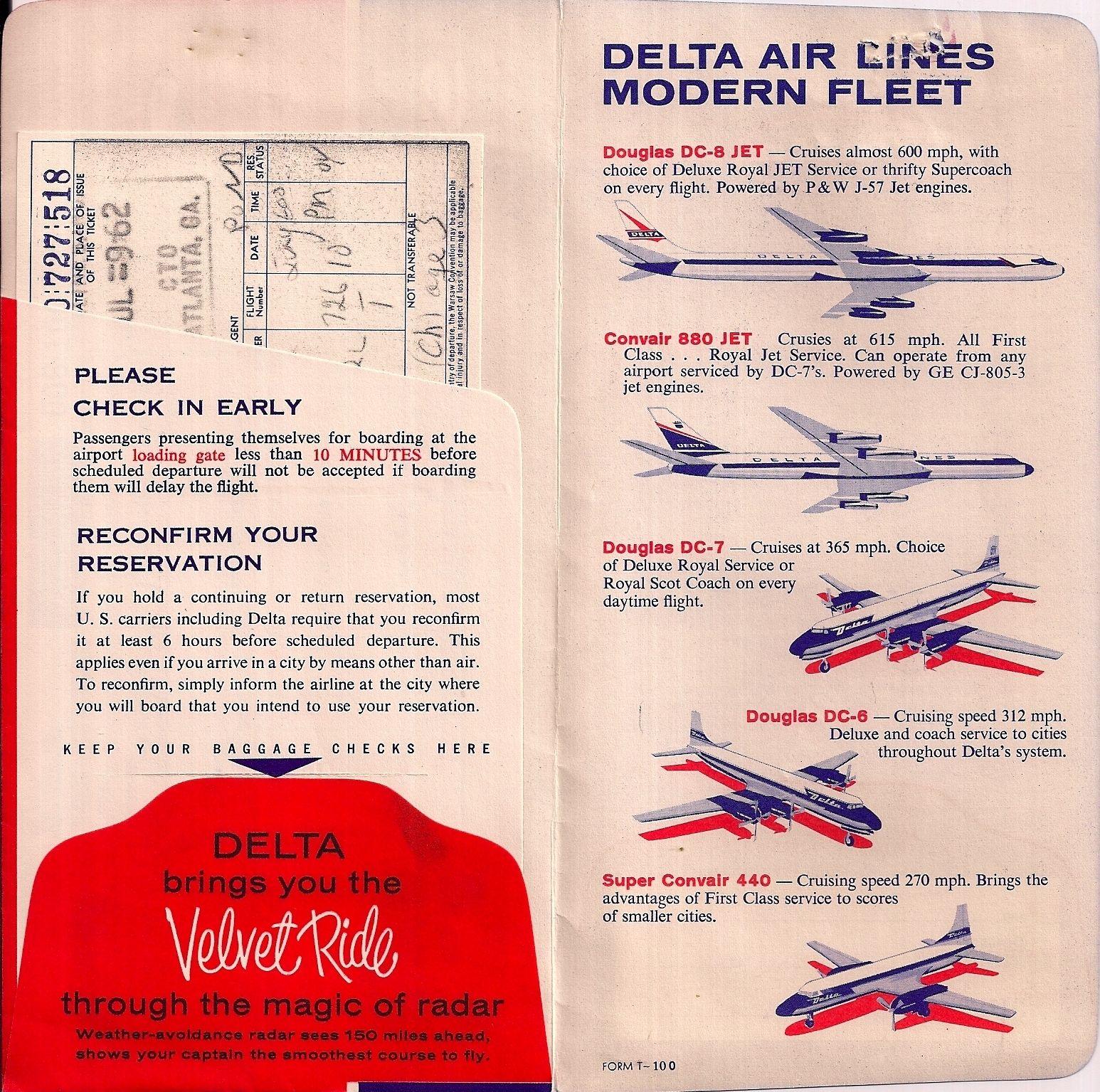 Delta Air Lines Ticket Jacket 1962 Delta fleet CV 440