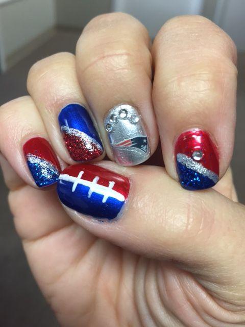 New England Patriots Nails Super Bowl 2017 Football Nail Art Nail Art Designs Football Nails