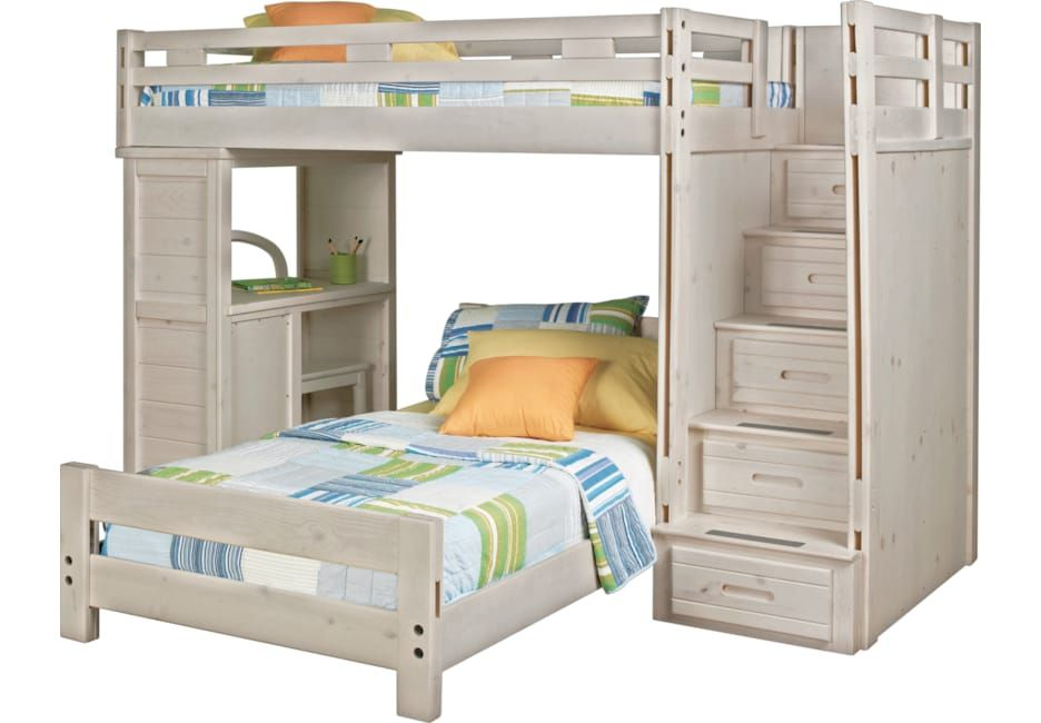 Creekside Stone Wash Twin Twin Step Bunk Bed With Desk Bunk Beds Bunk Bed With Desk Kids Bunk Beds Cool Bunk Beds