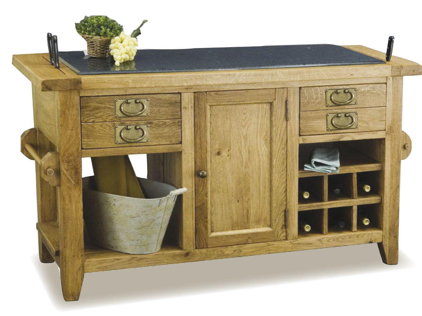 rustic wooden kitchen island with dark grey granite top