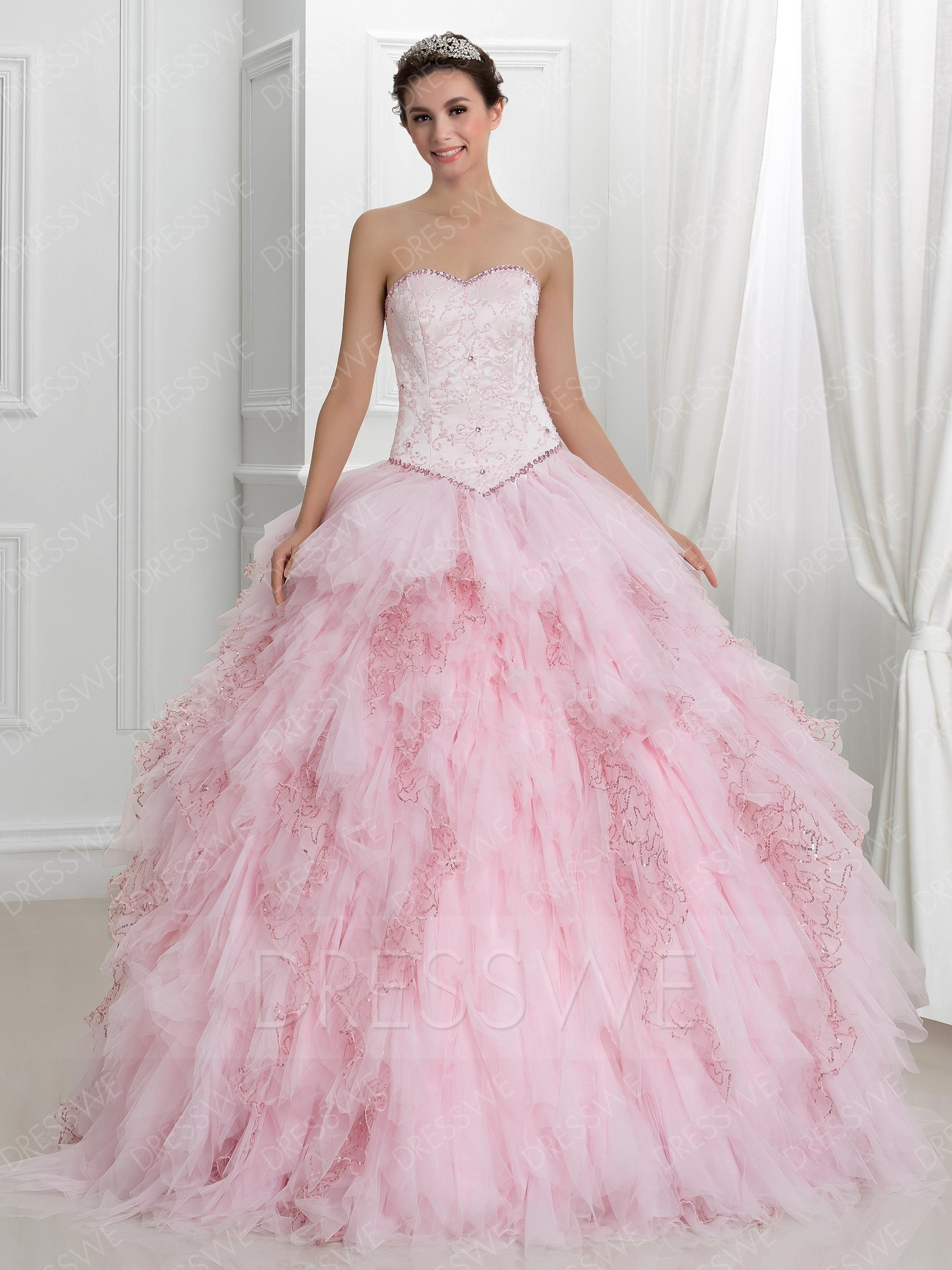 1d360380790 DressWe - DressWe Apealing Pleated Sweetheart Neck Sleeveless Tiered Lace-up  Quinceanera Dress - AdoreWe.com