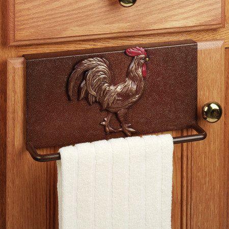 Rooster Metal Slip Over Kitchen Towel Bar Rooster Kitchen Decor Rooster Kitchen Rooster Decor