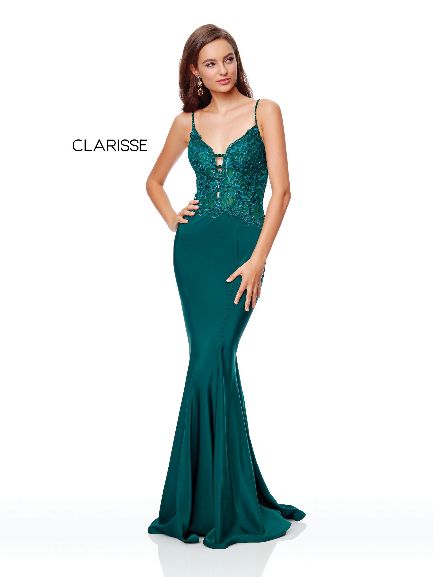 ed096949dd4f3 5003 - Forest Green stretch satin prom dress with a lace top ...