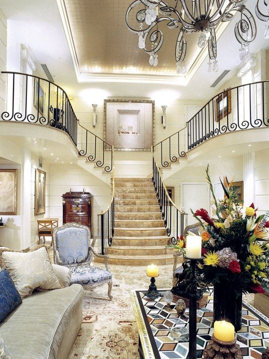 Luxury Showcase For Living Room Royal Art Deco: The Art-Deco Inspired Grand Stair Case And Main Living