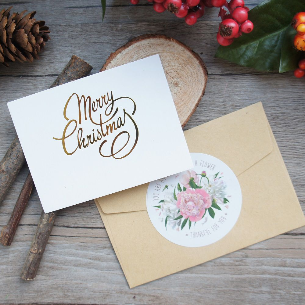 25pcs Mini Merry Christmas Card Gold With Kraft Envelope Message Cards  Lucky Love Valentine Christmas Party