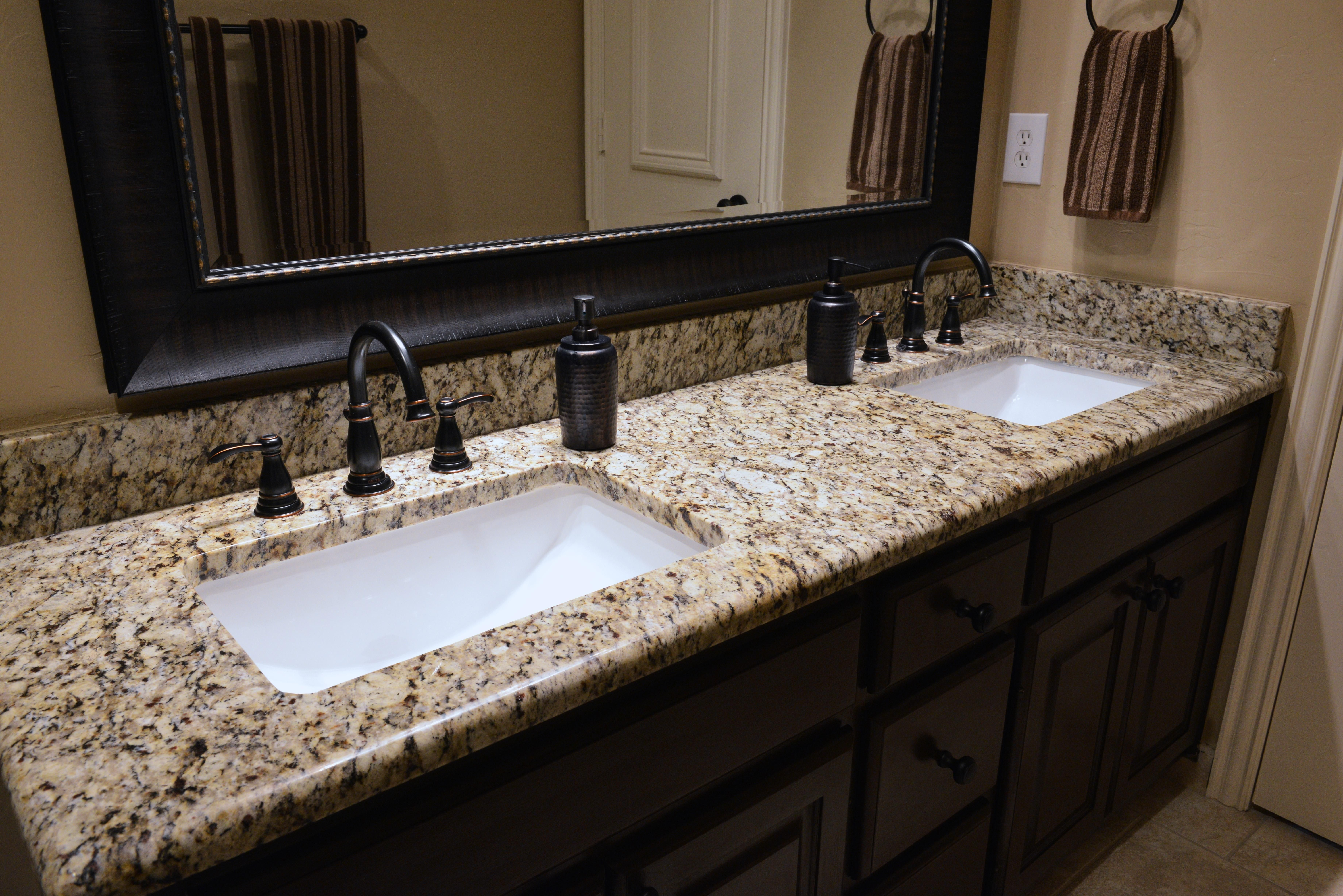 Best Countertops For Bathrooms Santa Cecilia Granite Bathroom Vanity Bathroom Beauties