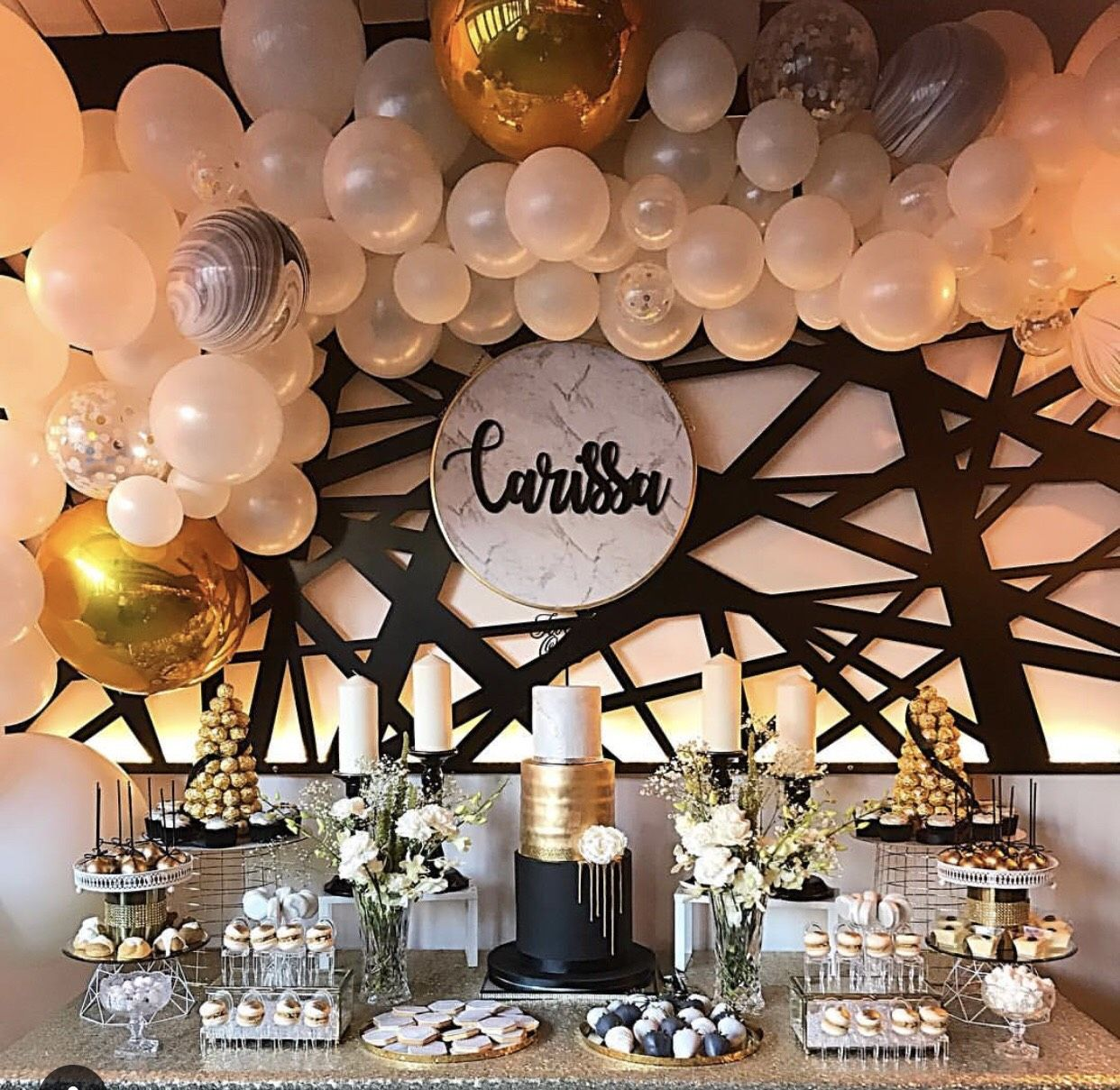 21st Birthday Dessert Table And Balloon Backdrop By Stylish