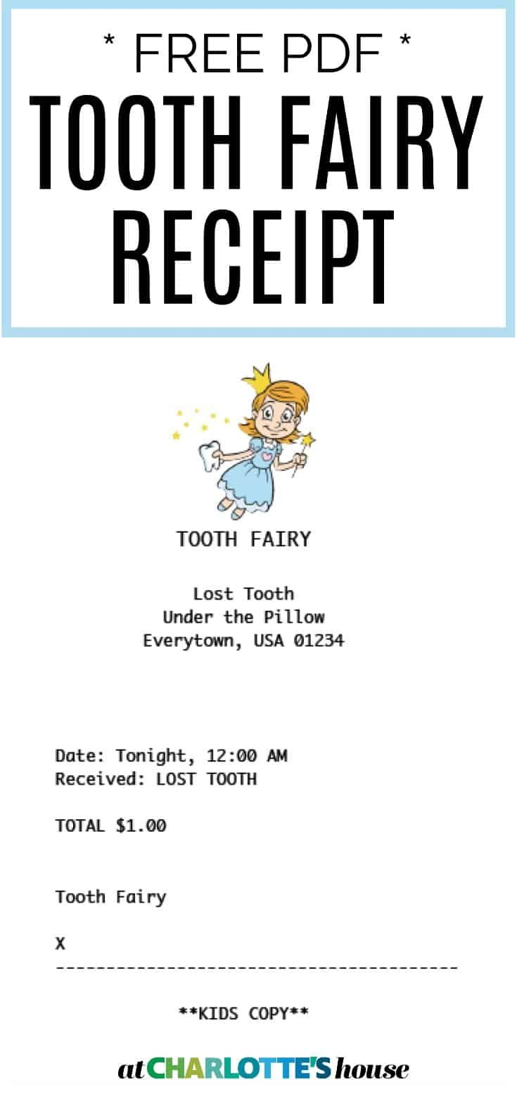 Tooth Fairy Receipt - At Charlotte's House #toothfairyideas