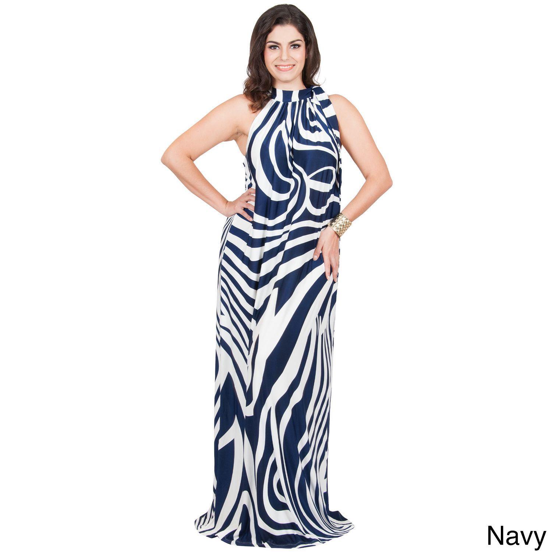 Global KOH KOH Women\'s Plus Size Halter Sleeveless Zebra Printed ...