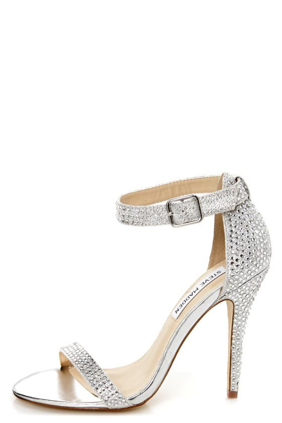 1a7730161 Found my wedding heels - Steve Madden Realov-r Silver Rhinestone Dress  Sandals - $99.00
