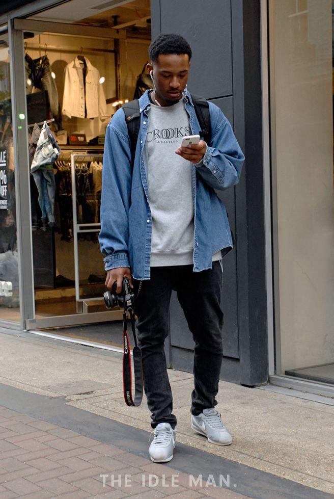 Oversized denim shirt, Mens fashion denim