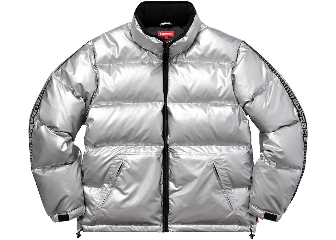 Supreme Reflective Sleeve Logo Puffy Jacket Silver Puffy Jacket Jackets Sleeves [ 1000 x 1400 Pixel ]