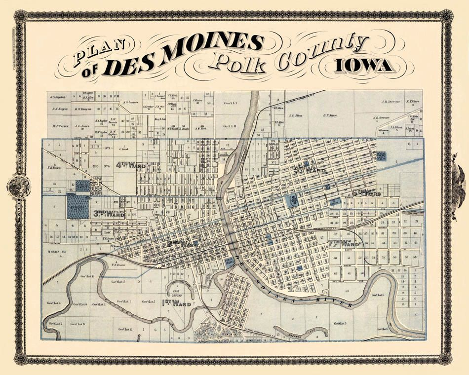 Antique map - Vintage map of Des Moines | Des Moines Love in 2019 ...
